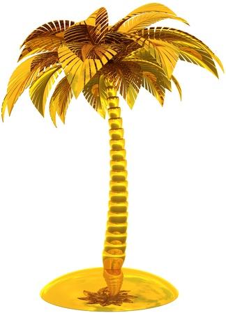 Goldene Palme Baum Insel stilisierte tropischer Traum Strand-Symbol. Dies ist ein eindrucksvolles CG Bild 3d Render Bild. Isolated on white background