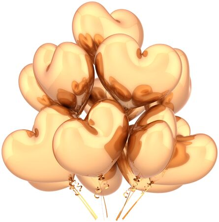 Golden balloons party birthday decoration heart shaped. Glamour Love abstract. Luxury holiday celebration concept. Detailed CG image 3D render (Hi-Res). Isolated on white background Stock Photo - 9677865