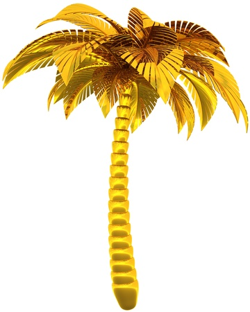 Golden palm tree single stylized tropical nature symbol. This is a detailed CG image 3d render image. Isolated on white background