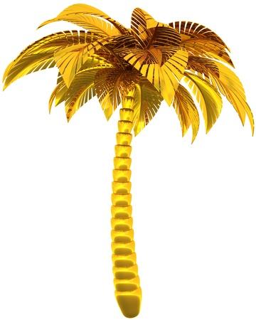 Goldene Palme Baum Single stilisierte tropische Natur Symbol. Dies ist eine detaillierte CG Bild 3d Render Bild. Isolated on white background