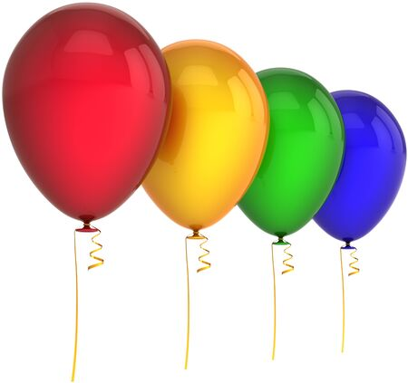 Balloons birthday party decoration four colors red yellow green blue. Happy joy abstract. Anniversary celebration greeting holiday concept. Detailed 3d render CG image. Isolated on white background Stock Photo - 9762596