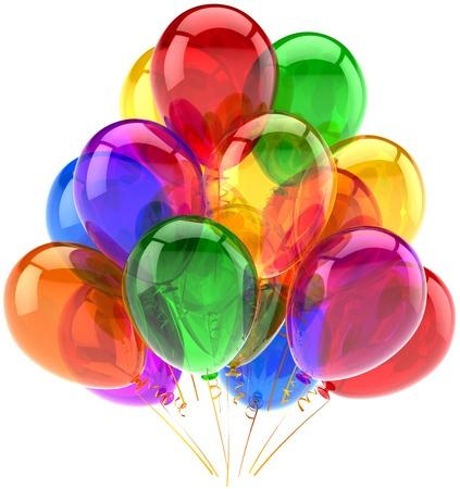 globos de cumplea�os: concepto de saludo de celebraci�n. Detallada CG imagen 3d render. Aislado en fondo blanco Foto de archivo