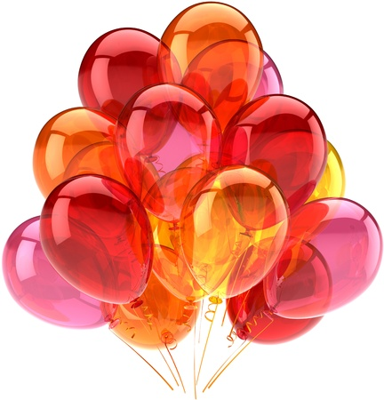 balloon background: celebration greeting concept. Detailed CG image 3d render. Isolated on white background Stock Photo