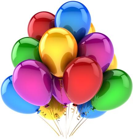 globos de cumplea�os: Decoraci�n de parte de feliz cumplea�os globos de fiesta multicolor azul rojo morado amarillo verde. Resumen de sue�o de la infancia. Concepto de celebraci�n del aniversario. Detallada render 3d. Aislado en fondo blanco
