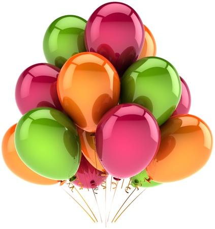 Decoración de parte de feliz cumpleaños globos de naranja rojo verde multicolor de vacaciones. Concepto de rendimiento de venta de celebración del aniversario. Alegría divertido abstracta. Detallada render 3d. Aislado en fondo blanco
