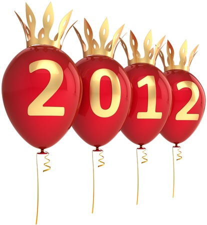 New 2012 Year eve balloons party decoration with golden crowns. Royal Merry Christmas greeting card design concept. This is a detailed 3d render. Isolated on white background Stock Photo - 10020251