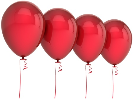 Balloons happy birthday party blank decoration colored red four arranged in a row. Fun joy abstract. Anniversary celebration design element. Detailed 3d render. Isolated on white background Imagens