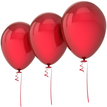 sales event: Party balloons happy birthday decoration colored red three arranged in a row. Fun joy abstract. Anniversary celebration design element concept. Detailed 3d render. Isolated on white background Stock Photo