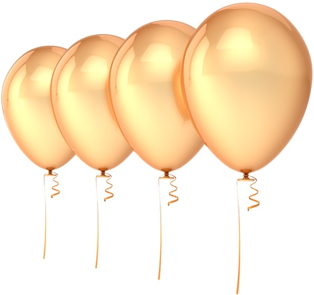 glamour luxury: Balloons party birthday glamour luxury decoration blank total golden four arranged in row. Happy joy abstract. Anniversary celebration design element. Detailed 3d render. Isolated on white background