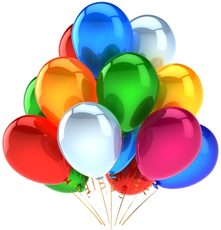 Happy birthday party balloons holiday decoration shiny multicolor arranged in a bunch. Childhood abstract. Anniversary celebration ceremony concept. Detailed 3d render. Isolated on white background photo