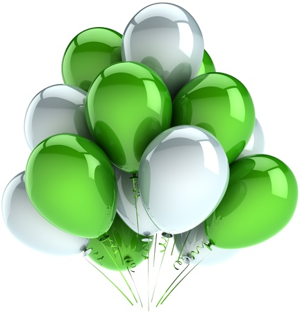 Birthday party balloons anniversary celebration decoration of holiday multicolor green and white. Happy childhood joy fun abstract. Detailed 3d render. Isolated on white background