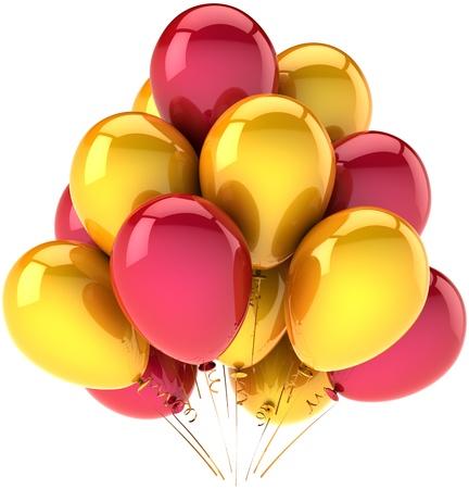 Decoración de globos de fiesta de cumpleaños de vacaciones varios colores amarillo y rojo. Alegría feliz niñez divertido abstracta. Concepto de celebración del aniversario. Detallada render 3d. Aislado en fondo blanco