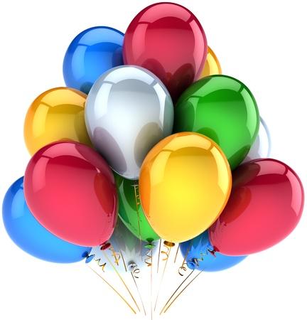 globos fiesta: Decoraci�n de globos feliz cumplea�os parte de vacaciones multicolor azul rojo amarillo verde blanco. Resumen de alegr�a de la infancia. Concepto de celebraci�n del aniversario. Detallada render 3d. Aislado en fondo blanco