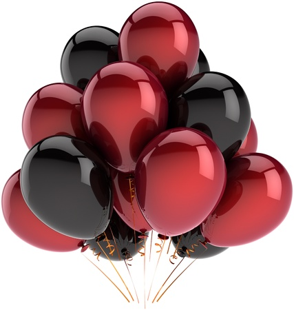 Party balloons decoration of birthday multicolor deep red and black. Fun happy joy abstract. Holiday festival celebration concept. Detailed 3D render. Isolated on white background Banque d'images