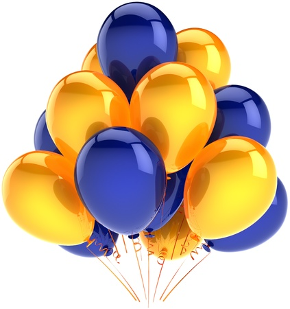 Happy birthday balloons party decoration multicolor yellow blue arranged in a bunch. Holiday abstract. Anniversary celebration ceremony concept. Detailed 3d render. Isolated on white background