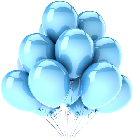 Party balloons cyan blue. Classic shiny decoration for birthday holiday celebration. Fun joy happy emotions . Detailed 3d render. Isolated on white background photo