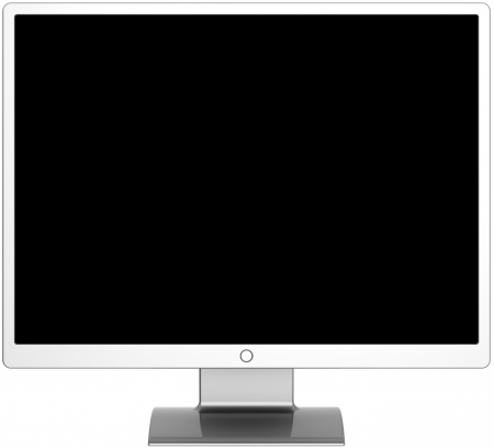 visual screen: Monitor computer device flat lcd colored silver grey metallic with blank black screen. Front facing. Detailed render 3d. Isolated on white background