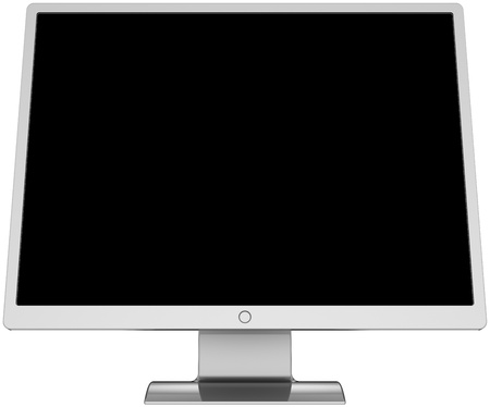 front facing: Computer monitor flat lcd colored silver grey metallic with blank black screen. Front facing. Detailed render 3d. Isolated on white background Stock Photo