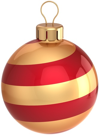 Merry Christmas ball bauble Happy New Year decoration colored red and golden swirl. Shiny beautiful festive Xmas symbol. Detailed 3D render. Isolated on white background Banque d'images