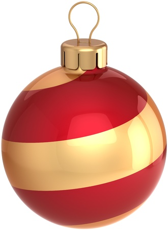 modern christmas baubles: Classic Christmas ball Happy New Year bauble holiday decoration colored red and golden. Beautiful shiny Merry Xmas symbol. Detailed 3D render. Isolated on white background