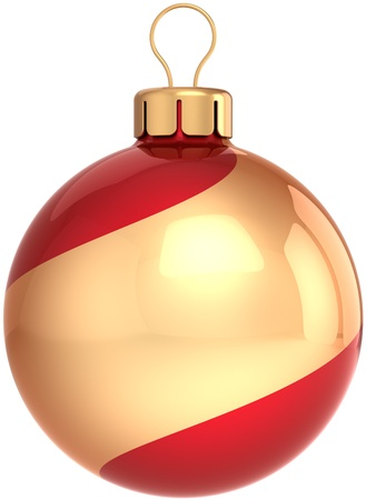 modern christmas baubles: Christmas ball bauble Happy New Year classic decoration colored golden and red swirl. Shiny beautiful Merry Xmas symbol. Detailed 3D render. Isolated on white background