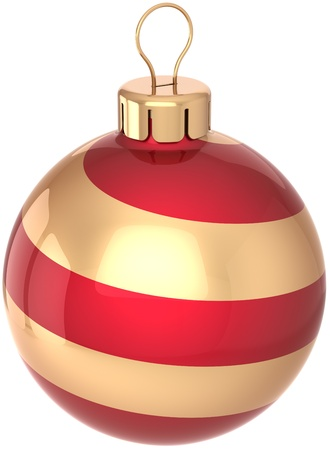 Christmas ball bauble Happy New Year holiday decoration colored red and golden. Shiny beautiful Merry Xmas symbol. Detailed 3D render. Isolated on white background Stock Photo - 10071514