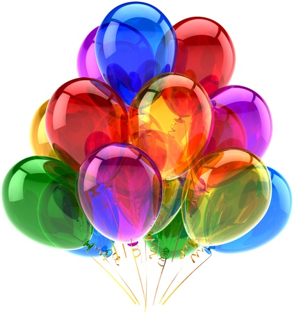 Balloons party happy birthday decoration multicolored translucent. Joy fun abstract. Holiday anniversary retirement celebration concept. Detailed 3d render. Isolated on white background photo