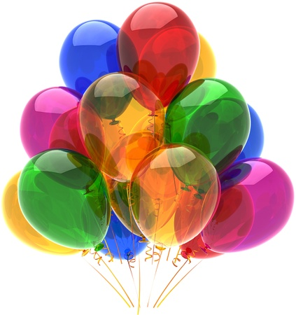 balloon background: Happy birthday balloons party decoration multicolored translucent. Fun joy abstract. Holiday anniversary retirement celebration concept. Detailed 3d render. Isolated on white background