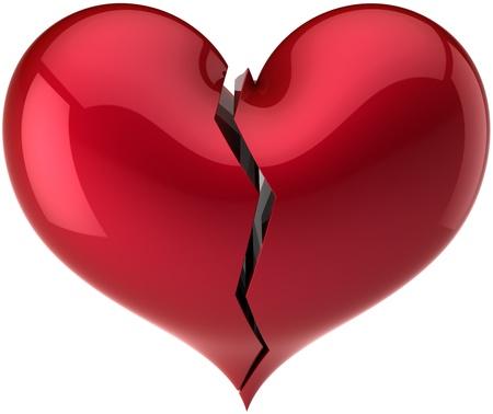 corazon roto: Clásico de forma de corazón roto con crack de color rojo. Perder de resumen de amor. Concepto de símbolo de divorcio. Se trata de un procesamiento 3D detallada. Aisladas sobre fondo blanco