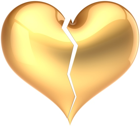 Heart shape broken colored golden. Fall out of Love glamour symbol. Bored lover depression concept. Valentine's Day greeting card design element. Detailed 3D render. Isolated on white background Stock Photo - 10375218