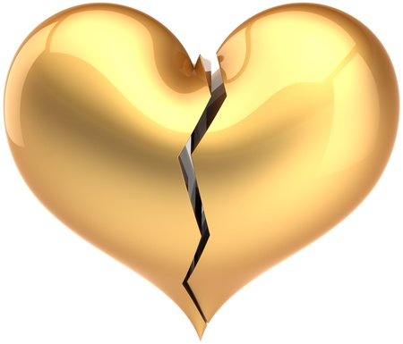 lonely heart: Broken heart shape total golden. Fall out of Love luxury symbol. Bored lover depression concept. Valentines Day greeting card template design element. Detailed 3D render. Isolated on white background