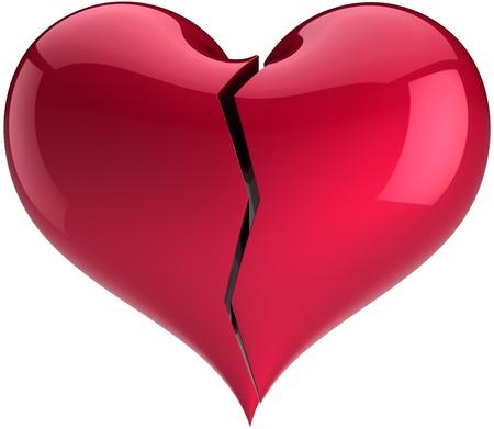 saint valentines: Di colore rosso a forma di cuore spezzato. Caduta di simbolo di amore. Concetto di depressione amante annoiato. Giorno di San Valentino greeting card elemento progettazione del modello. Dettagliate 3D rendering. Isolato su sfondo bianco