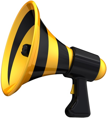 a public notice: Megaphone attention news announcement symbol colored black yellow. Loudspeaker bullhorn message icon original design. Announcement notify concept. Detailed 3D render. Isolated on white background