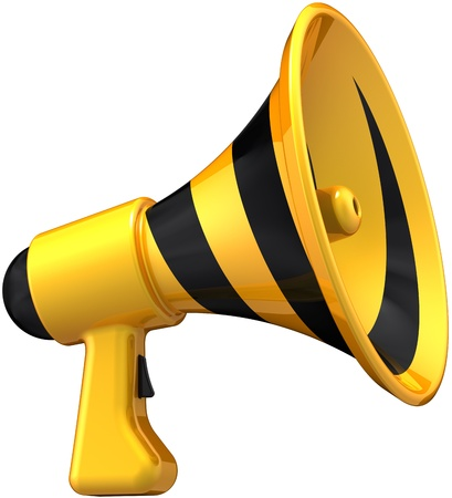 notice: Megaphone announcement news communication symbol colored yellow black. Loudspeaker bullhorn message icon. Attention notify concept. Detailed 3D render. Isolated on white background