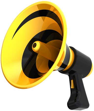 propaganda: Megaphone communication announcement propaganda colorful yellow black. Bullhorn loudspeaker news message icon. Advertise notify warning concept. Detailed 3D render. Isolated on white background
