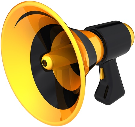Megaphone news announcement communication symbol colored black yellow. Bullhorn loudspeaker message icon. Attention notify concept. Detailed 3D render. Isolated on white background photo