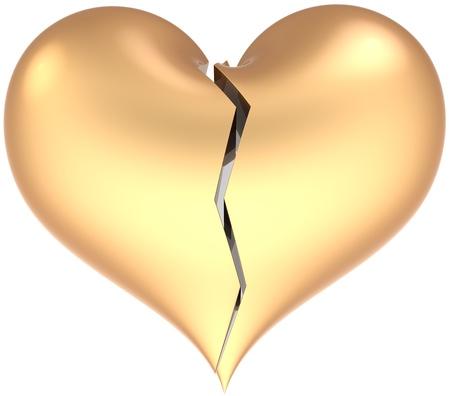 insuficiencia cardiaca: Cl�sico de forma de coraz�n roto con crack mate de color dorado. Perder de resumen de amor. Concepto de s�mbolo de glamour de divorcio. Se trata de un procesamiento 3D detallada. Aisladas sobre fondo blanco