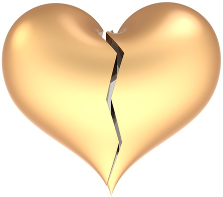 Heart shape classic broken with crack colored matte golden. Lose of Love abstract. Divorce glamour symbol concept. This is a detailed 3D render. Isolated on white background photo