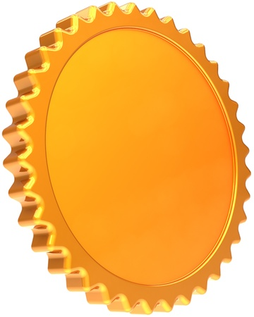 Award medal golden design element. Certificate guarantee seal design element template. Luxury champion badge label. Detailed 3d render image. Isolated on white background Stock Photo - 10375226