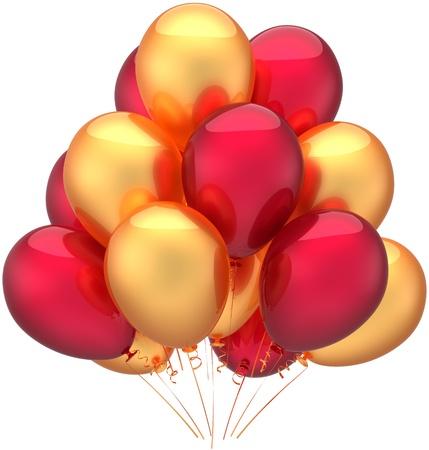 verjaardag ballonen: Happy birthday ballonnen party decoratie van vakantie veelkleurige gouden rood. Kinderachtig gelukkige vreugde abstract. Verjaardag pensioen viering concept. Gedetailleerde 3d render. Geà ¯ soleerd op witte achtergrond Stockfoto