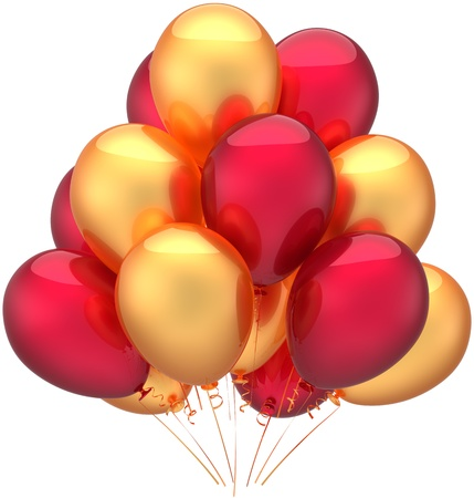 Happy birthday balloons party decoration of holiday multicolored golden red. Childish happy joy abstract. Anniversary retirement celebration concept. Detailed 3d render. Isolated on white background