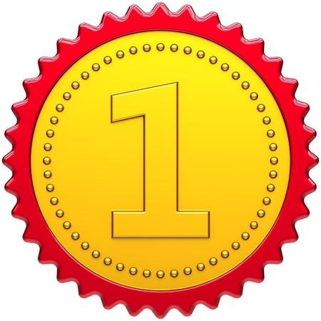 Medalla Premio primer lugar insignia dorada con sello de borde rojo del campe�n. Concepto de orgullo n�mero uno. Elemento de dise�o de motivaci�n de logro de liderazgo. Procesamiento 3D detallada. Aisladas sobre fondo blanco Foto de archivo - 10375230