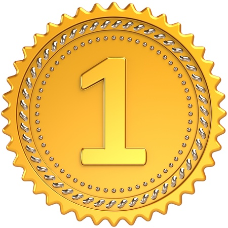 finalistin: Erster Platz Medaille Auszeichnung golden. Leistung-Weltmeister stolz-Abzeichen-Design-Element. Das beste Gewinner Motivation Erfolg Konzept. Detaillierte 3d Render. Isoliert auf wei�em Hintergrund Lizenzfreie Bilder