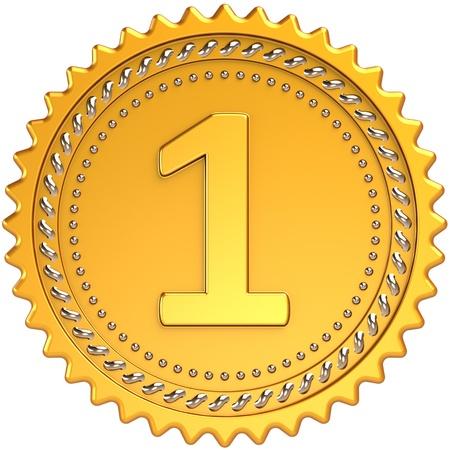 primer lugar: Primer lugar premio medalla de oro. Elemento de dise�o de insignia de orgullo campe�n del logro. El mejor concepto de �xito de motivaci�n ganadora. Detallado procesamiento 3d. Aisladas sobre fondo blanco Foto de archivo