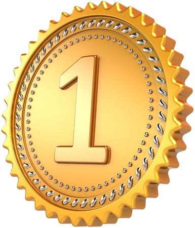 primer lugar: Medalla de oro premio de primer lugar. Campe�n logro ganador orgullo insignia de elementos de dise�o. El mejor n�mero de un concepto motivaci�n del �xito. 3d detallada. Aisladas sobre fondo blanco Foto de archivo