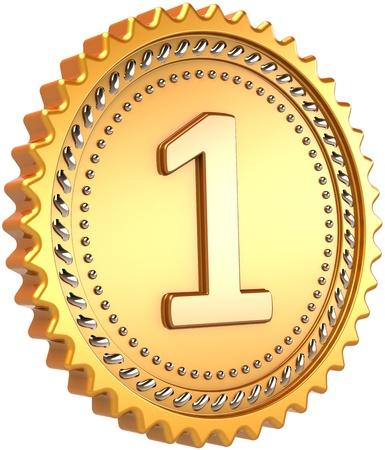 primer lugar: Medalla de oro primer lugar premio. Concepto de éxito de campeón ganador líder número uno. Elemento de diseño de lujo victoria insignia. Detallado procesamiento 3d. Aisladas sobre fondo blanco