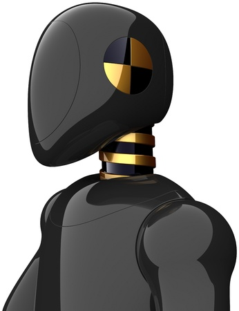 Cyborg crash test dummy shiny black metallic. Futuristic robot concept. High quality three-dimensional 3d render. Isolated on white background Stock Photo - 10386321