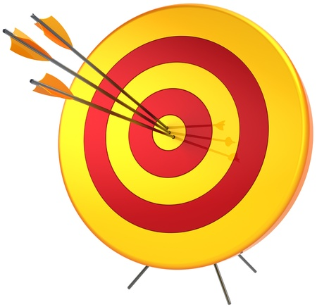 Target success hitting with arrows. Perfect accuracy sniper shooting. Lucky business bulls eye concept. Detailed 3d render. Isolated on white background Banque d'images