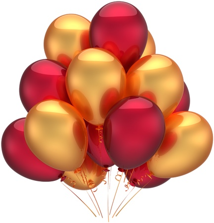 Birthday party balloons luxury decoration of holiday colored golden red. Anniversary celebration retirement occasion concept. Childish happy abstract. Detailed 3d render. Isolated on white background