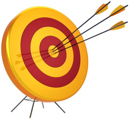 Business target success shooting concept. Accuracy archery arrows sniper hitting of bulls eye. Detailed 3d render. Isolated on white background photo